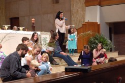 During the Children's Message.