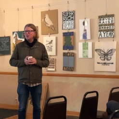Todd Erlandson introducing artist Elkpen for her talk.